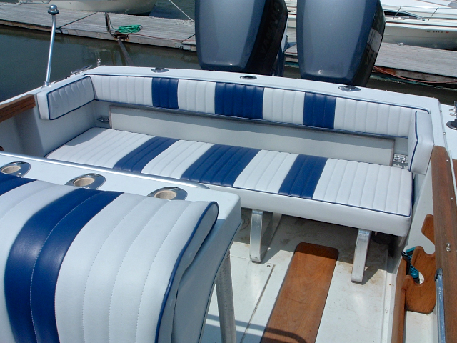 Blue stripe deck benches