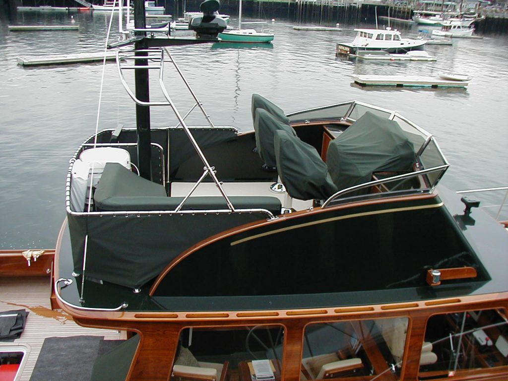Yacht cockpit covers at mooring