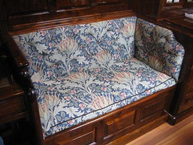 Floral settee on boat